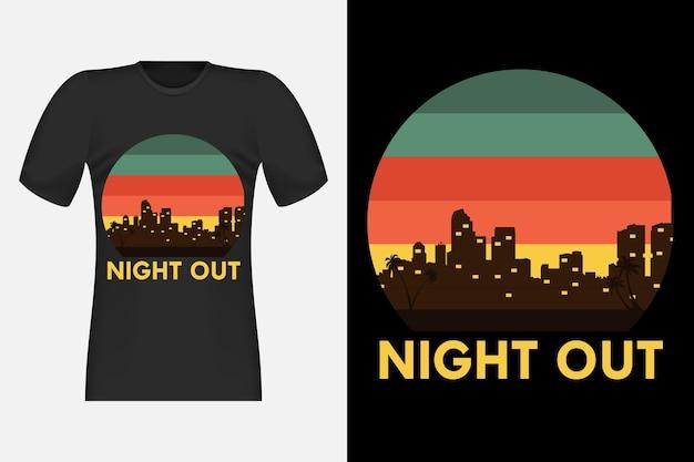 Design t-shirt retrò vintage con silhouette notturna