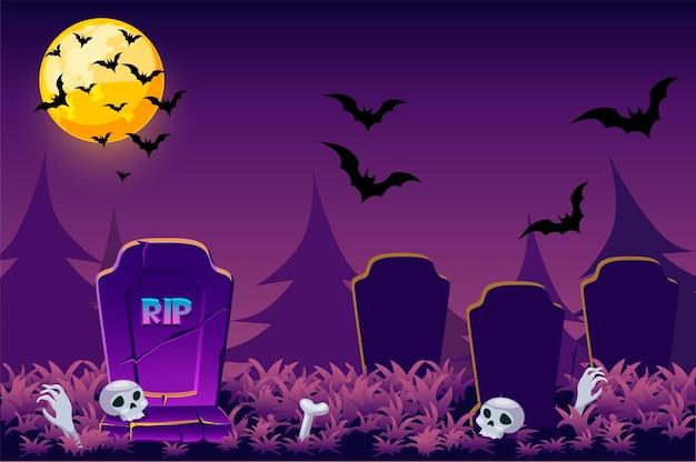 Illustrazione semplice di halloween di notte, cranio spaventoso del cimitero per il gioco.
