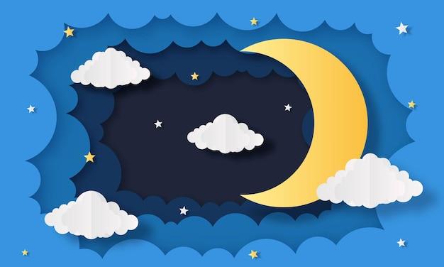 Cielo notturno. luna, stelle e nuvole a mezzanotte. stile di arte della carta.