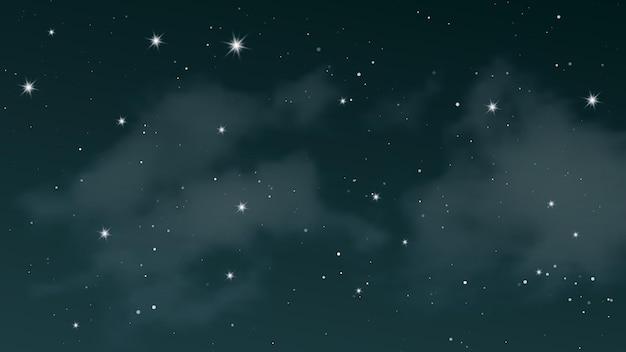 Cielo notturno con nuvole e molte stelle. fondo astratto della natura con polvere di stelle nell'universo profondo. illustrazione vettoriale.