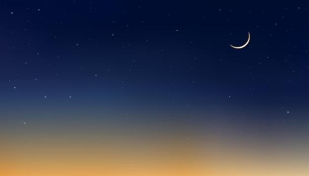 Cielo notturno con falce di luna e stelle