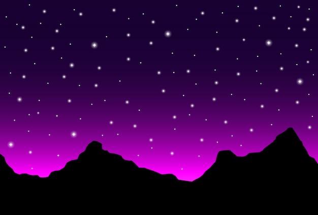 Paesaggio dell'orizzonte di notte con la siluetta e le stelle delle montagne