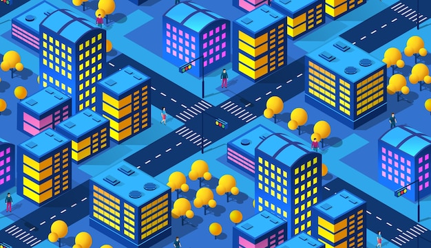 La notte smart city pattern di sfondo 3d futuro stile neon