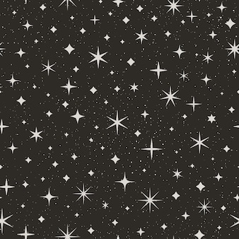 Reticolo senza giunte del cielo stellato di notte. sfondo vettoriale spaziale. texture astratta nera con stelle e punti bianchi per la stampa su tessuti, carta da imballaggio, sfondi