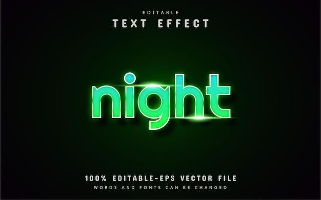Testo notturno - effetto di testo in stile neon verde