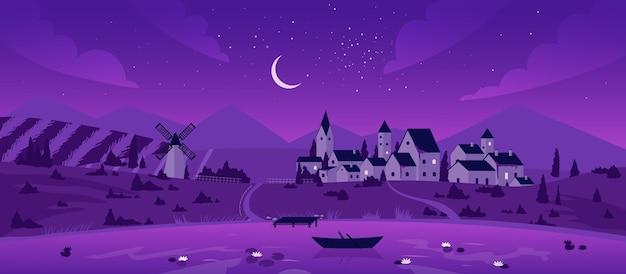 Città notturna o villaggio vicino al paesaggio del lago luna in case coloniche di barche con cielo stellato viola