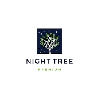 Illustrazione dell'icona di logo dell'albero di notte