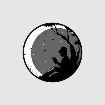 Vista notturna e illustrazione al chiaro di luna