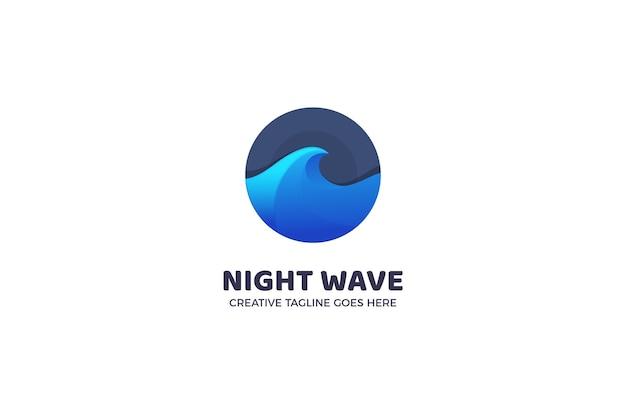 Modello di logo di surf onda notturna