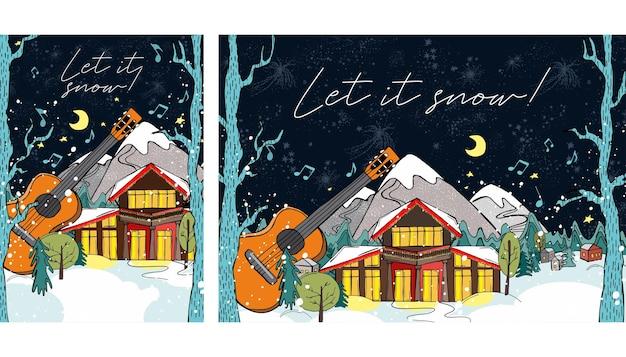 Paesaggio invernale notturno casa nel bosco neve serale d'inverno