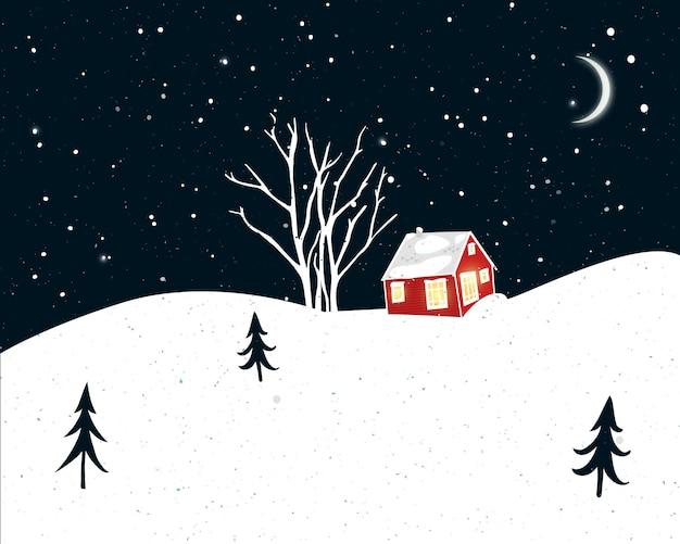 Scena invernale notturna con piccola casa rossa, sagome di alberi e neve che cade. disegno della cartolina di natale.
