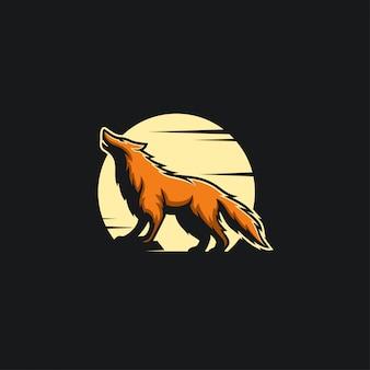 Lupo di notte logo design ilustration