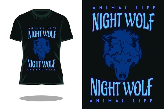 Design retrò della maglietta del lupo notturno