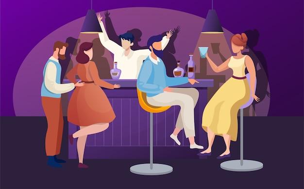 Illustrazione piana del partito del locale notturno