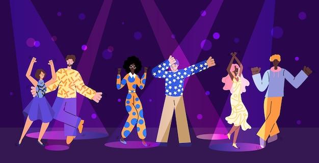 Scena di festa in discoteca con illustrazione di personaggi dei cartoni animati