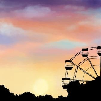 Illustrazione del cielo notturno e della ruota panoramica