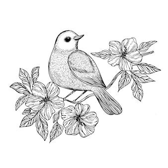 Nightingale songbird si siede su un ramo con fiori che sbocciano schizzo disegnato a mano in bianco e nero