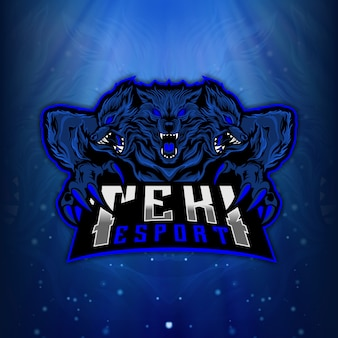 Logo di incubo cerberus mascot esport