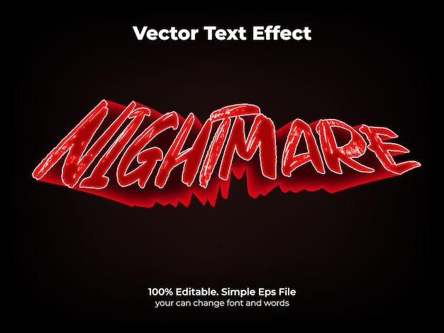 Effetto testo incubo notte modificabile e stile di testo spaventoso