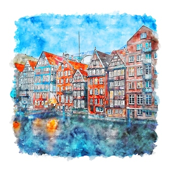 Nikolaifleet amburgo germania acquerello schizzo disegnato a mano illustrazione