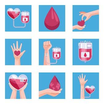 Set di nove donatori di sangue blood