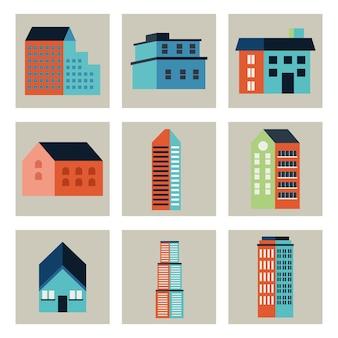 Nove edifici città icone minime