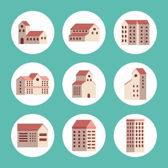 Nove edifici città impostare icone