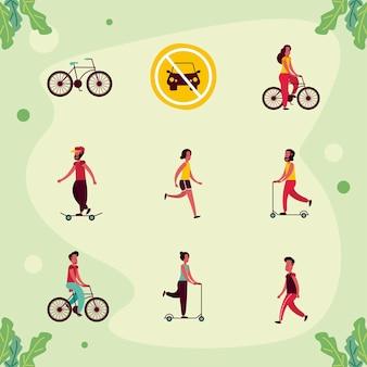 Nove icone del giorno senza auto
