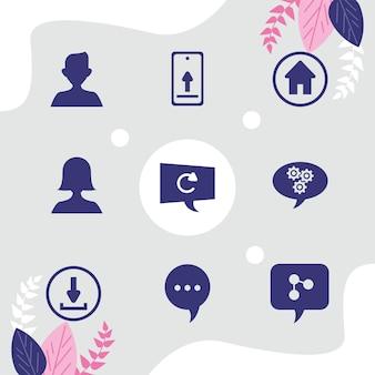 Nove icone social di comunicazione