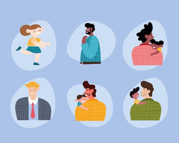 Nove personaggi dei fumetti di giorno di padri
