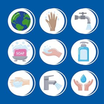 Nove icone globali del giorno del lavaggio delle mani