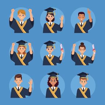 Nove laureati che celebrano i personaggi