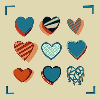 Nove cuori colorati vintage disegnati a mano vettore. perfetto per gli amanti del lettering e del cuore.
