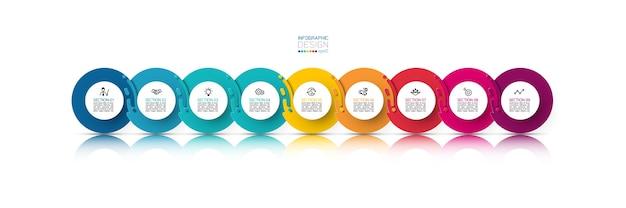 Nove infografica cerchio armonioso.
