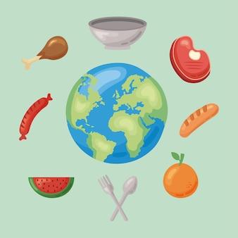 Nove icone di cibo sano