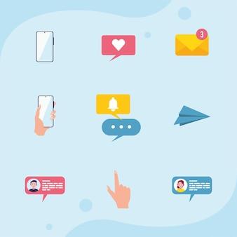 Nove icone del set di comunicazione di messaggistica