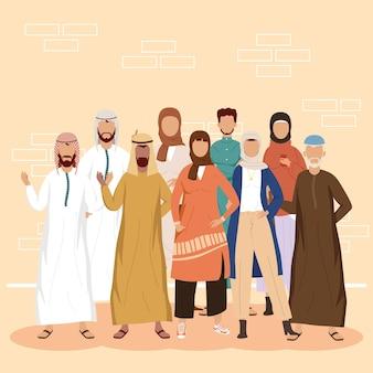 Gruppo di nove persone della comunità musulmana