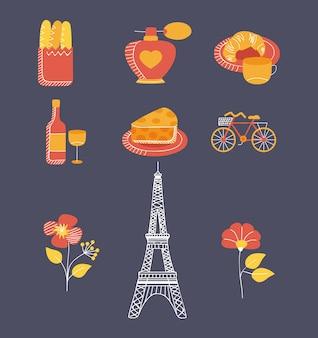 Nove icone del paese di parigi