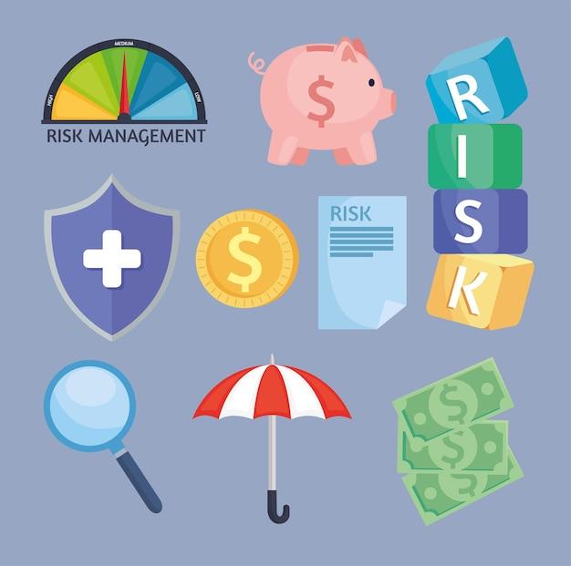 Nove icone di gestione del rischio