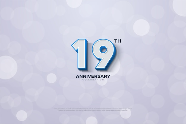Il diciannovesimo anniversario con un numero a strisce blu sul bordo