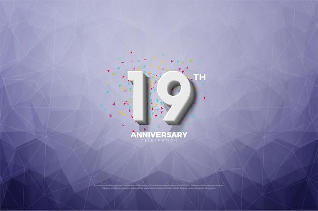 Diciannovesimo anniversario con effetto cristallo come sfondo
