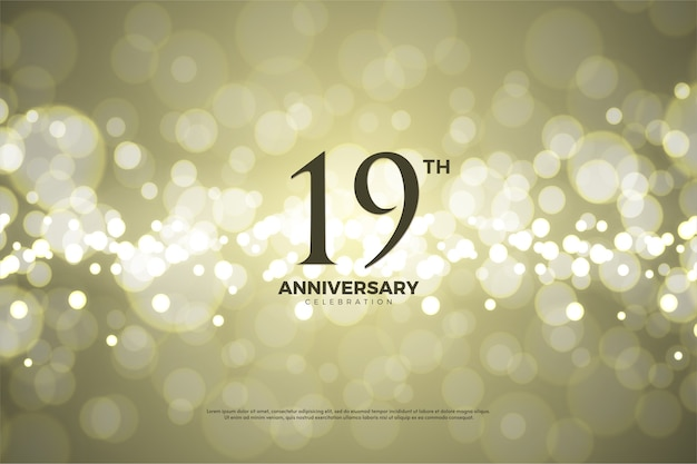 Diciannovesimo anniversario con fondo in carta oro