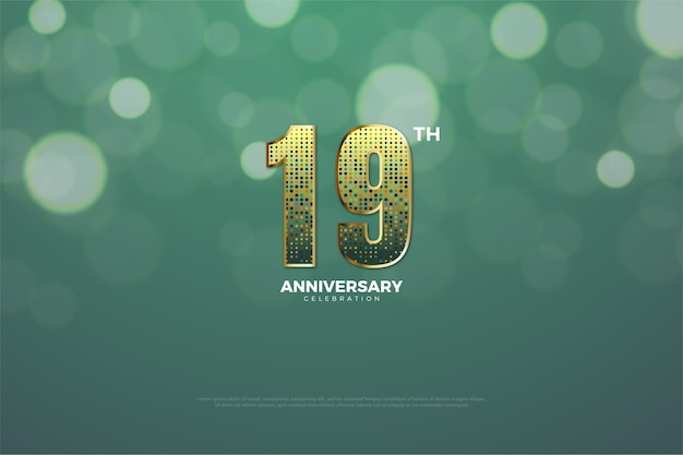 Diciannovesimo anniversario con effetto glitter dorato