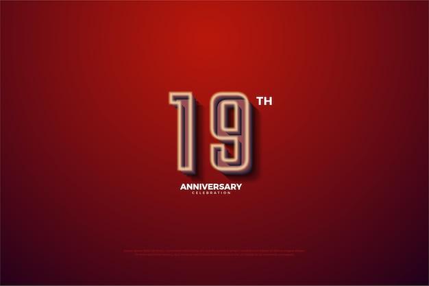 Diciannovesimo anniversario con numeri circondati da strisce bianche
