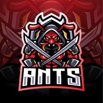 Logo mascotte esport di formiche ninja