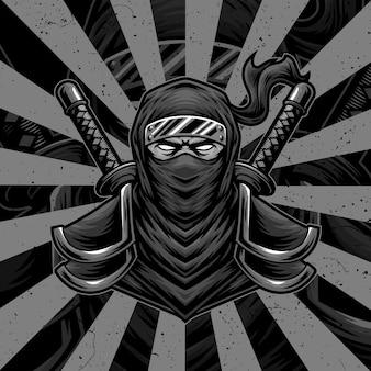 Logo del design dell'illustrazione dell'opera d'arte ninja