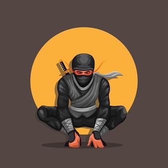 Vettore dell'illustrazione del personaggio di posa accovacciata ninja