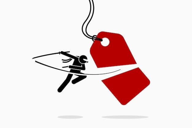 Ninja taglia e dimezza il cartellino del prezzo. concetto di vendita, promozione, sconto, offerta e shopping.