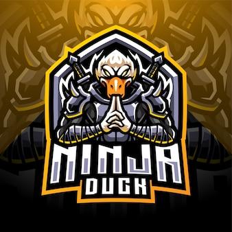 Ninja duck esport mascotte logo design