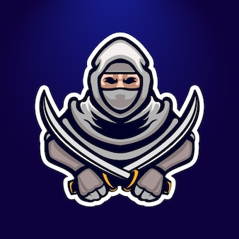 Ninja e-sport logo emblema design
